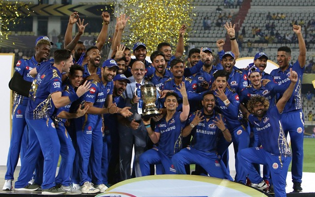 Hyderabad: Mumbai Indians' pose with the trophy after winning the Final match of IPL 2019 against Chennai Super Kings at Rajiv Gandhi International Stadium in Hyderabad, on May 12, 2019. Mumbai Indians won by 1 run. It also became the first team to win four Indian Premier League (IPL) titles. (Photo: Surjeet Yadav/IANS)